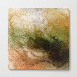 ABSTRACT GOLD TANGERINE AQUARELL Metal Print