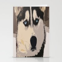 duvet cover Stationery Cards featuring DOG DUVET COVER by aztosaha