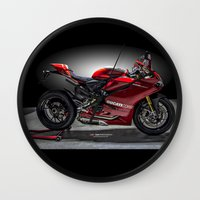 ducati Wall Clocks featuring Ducati 1199 Panigale R by Elias Silva Photography