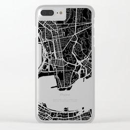 Street MAP Hong Kong // Black&White Clear iPhone Case