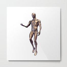 Silver Cyborg God Metal Print