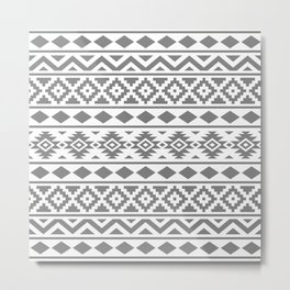 Aztec Essence Ptn III Grey on White Metal Print