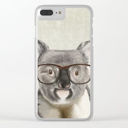 A baby koala with glasses on a rustic background Clear iPhone Case