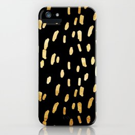 Gold Stripes on Black iPhone Case