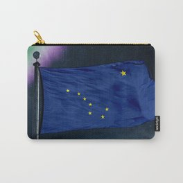 Alaska flag over milky way and northern light Carry-All Pouch