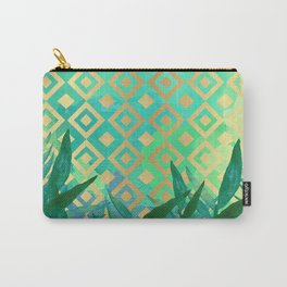 Pattern geometric gold and leaf Carry-All Pouch