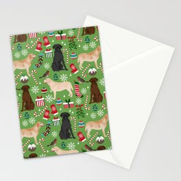 Labrador retrievers christmas festive holiday gifts for dog lover in your life dog breeds custom art Stationery Cards