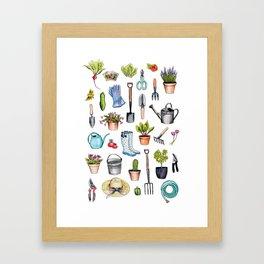 Garden Gear - Spring Gardening Pattern w/ Garden Tools & Supplies Framed Art Print