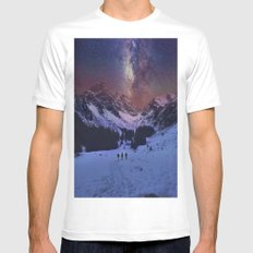 Walking under the Stars Mens Fitted Tee MEDIUM White