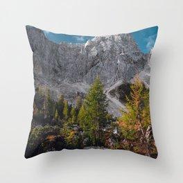 Stunning autumn scenery below mountains Throw Pillow