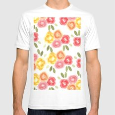 Vintage Florals White MEDIUM Mens Fitted Tee