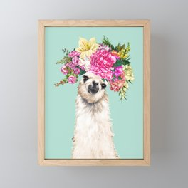 Flower Crown Llama in Green Framed Mini Art Print