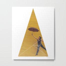 Air Umbrella Girl - Geometric Photography Metal Print