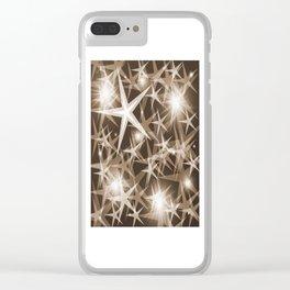 stars brown white elegant modern pattern Clear iPhone Case