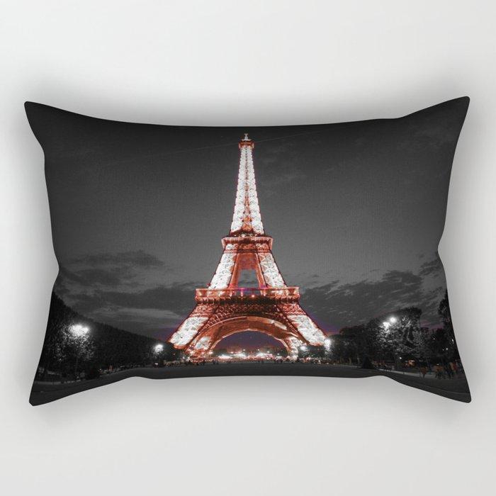 Paris Eiffel Tower Pink Night Rectangular Pillow
