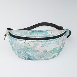 Blue green watercolor flower pattern Fanny Pack