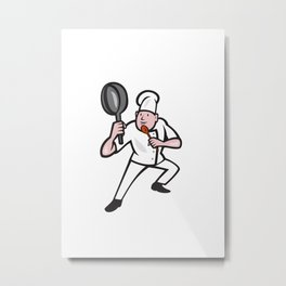 Chef Cook Holding Frying Pan Kung Fu Stance Cartoon Metal Print
