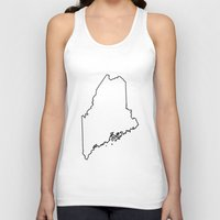 maine Tank Tops featuring Maine by mrTidwell