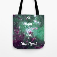 star lord Tote Bags featuring My Little Star Lord by foreverwars