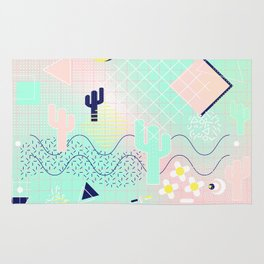 Summer cactus geometric Memphis inspired pattern Rug
