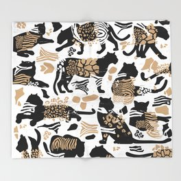 Boho Wild Cats I. Throw Blanket