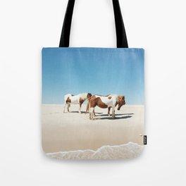 Summer Shore Horses Tote Bag