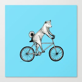 Shiba Inu Riding a Bicycle Canvas Print
