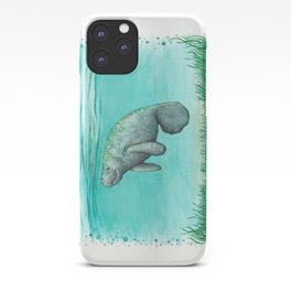 """Mossy Manatee"" by Amber Marine ~ Watercolor & Ink Painting, (Copyright 2016) iPhone Case"