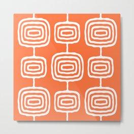 Mid Century Modern Atomic Rings Pattern 771 Orange Metal Print