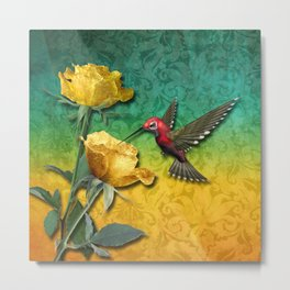 Hummingbird Gold Roses & Damask Metal Print