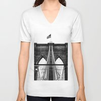 brooklyn bridge V-neck T-shirts featuring Brooklyn Bridge by Graham Dunk