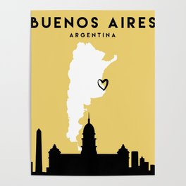 BUENOS AIRES ARGENTINA LOVE CITY SILHOUETTE SKYLINE ART Poster