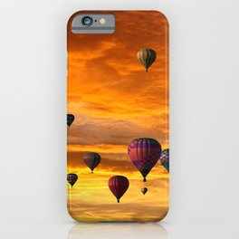 Hot Air Balloons Into a Sunset Sky iPhone Case