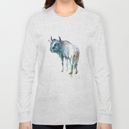 Wildebeest / Abstract animal portrait. Long Sleeve T-shirt