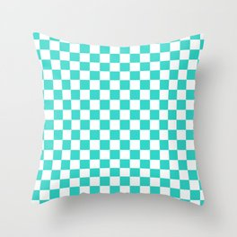 Small Checkered - White and Turquoise Throw Pillow