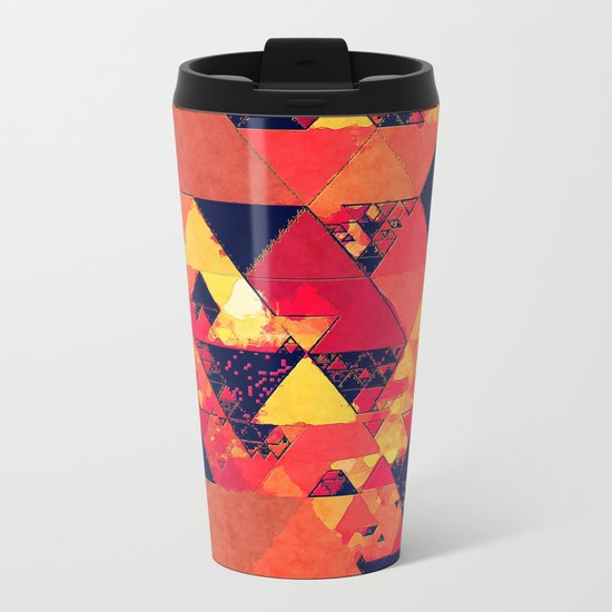 Pure fire- Red yellow black abstract Triangle pattern- Watercolor Illustration Metal Travel Mug