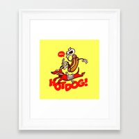 hot dog Framed Art Prints featuring Hot Dog! by Gimetzco's Damaged Goods