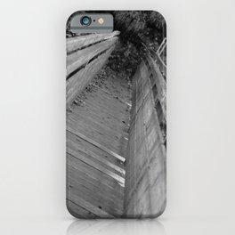 Wooden bridge Gießenbachklamm, black and white photo iPhone Case
