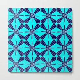 Retro Blue Tiling Metal Print