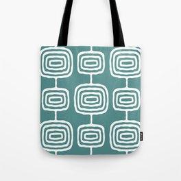 Mid Century Modern Atomic Rings Pattern 771 Teal Green Tote Bag