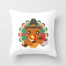 Cute Turkey Holding An Ax Happy Turkey Day Thanksgiving Save A Turkey Awareness T-shirt Design Throw Pillow