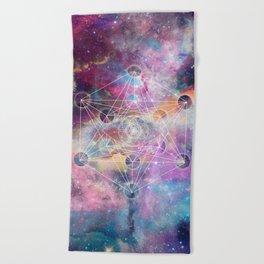 Watercolor and nebula sacred geometry  Beach Towel