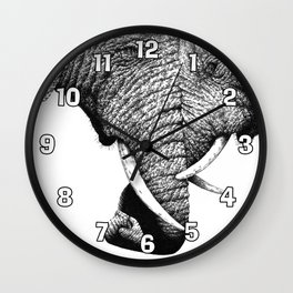 African Elephants with Trunks Entwined Wall Clock
