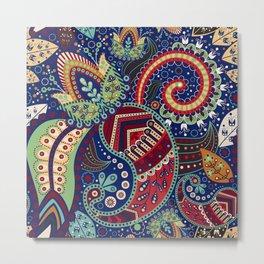 Colorful khohloma pattern Metal Print