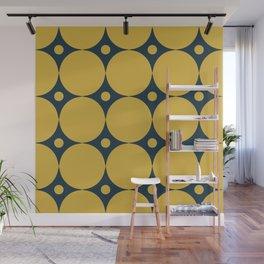Futura Mid-century Modern Minimalist Abstract Pattern in Mustard Yellow and Navy Blue Wall Mural