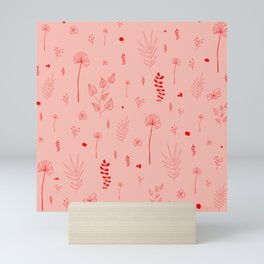 Wild botanical pattern Pink Edition Mini Art Print
