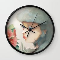 et Wall Clocks featuring Pensees et roses tremieres by Ludovic Jacqz