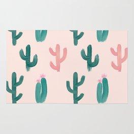 Painted Cactus Pattern on Pink Rug