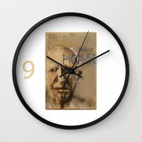 pablo picasso Wall Clocks featuring 50 Artists: Pablo Picasso by Chad Beroth