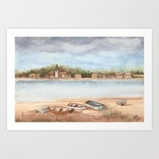 Boats on the Sand Art Print